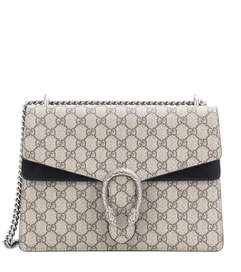 9f40ce261bc961 Gucci Dionysus Gg Supreme Medium Coated Canvas And Suede Shoulder Bag In  Beige