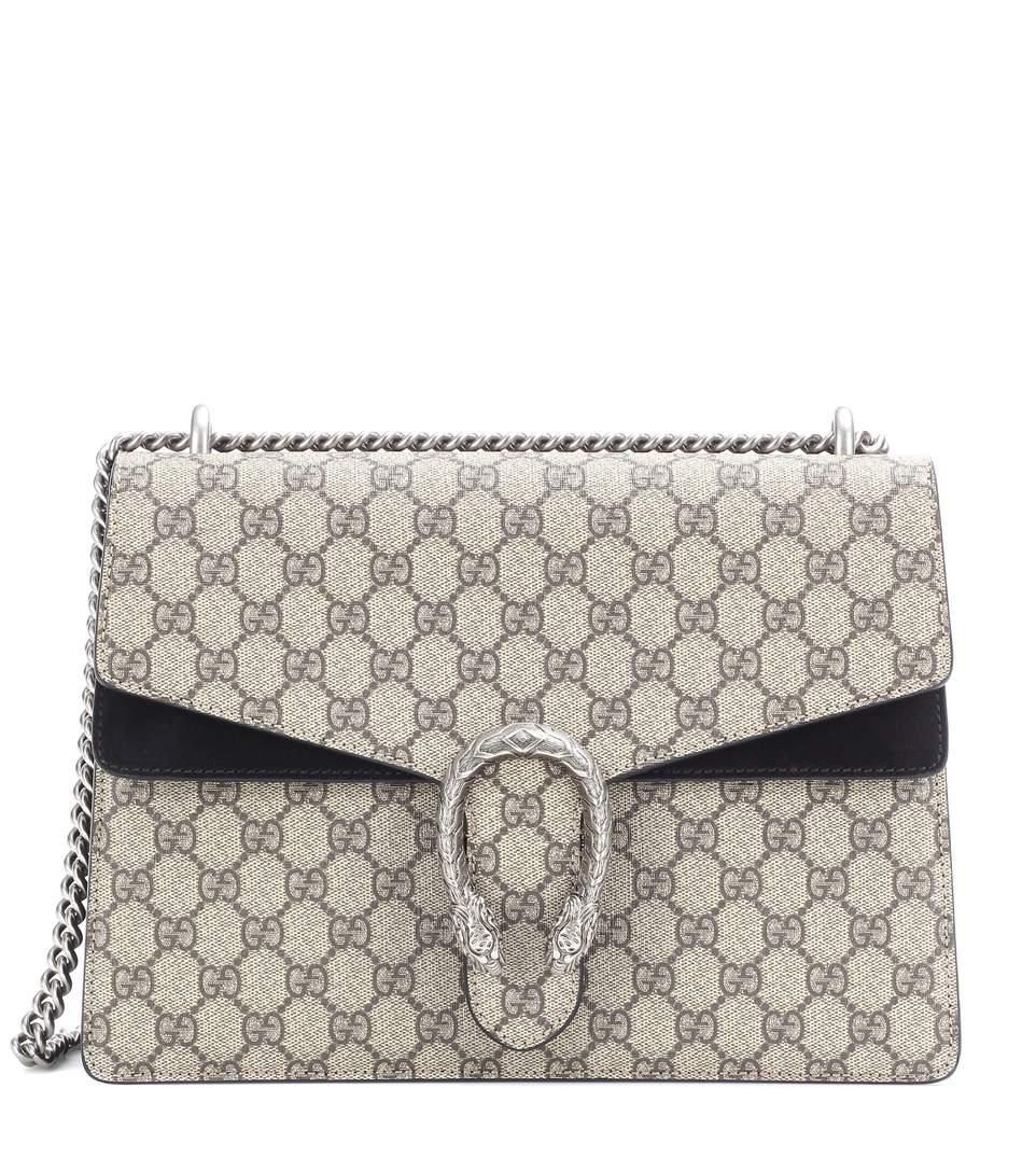 e5f834678f2d Gucci Dionysus Gg Supreme Medium Coated Canvas And Suede Shoulder Bag In  Beige