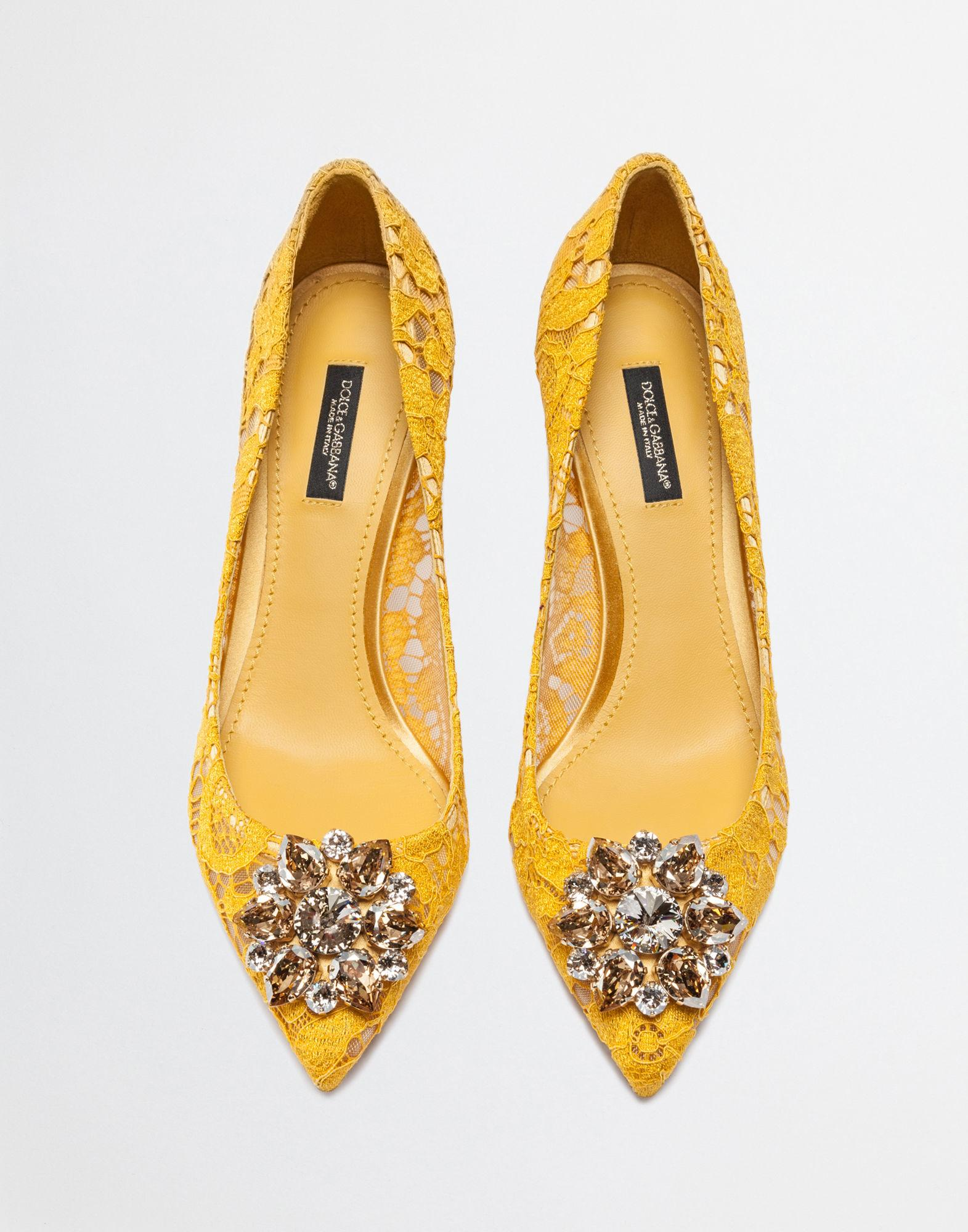 1288f949fe Dolce & Gabbana Belluci Crystal-Embellished Lace Pumps In Yellow ...