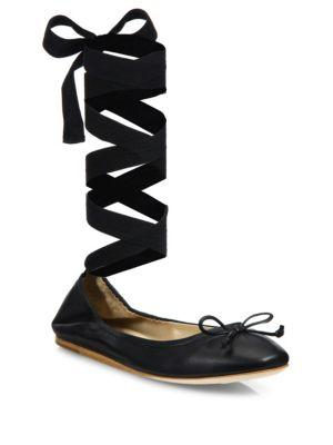 996a4c64ef Saks Fifth Avenue Leather Ankle-Wrap Ballet Flats In Black | ModeSens