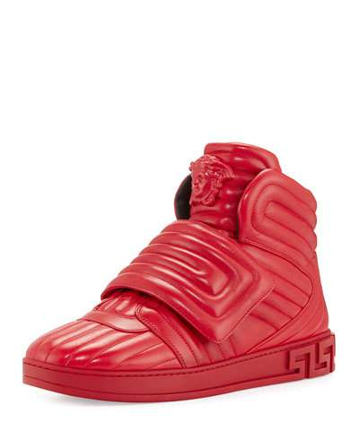 0758a1418b58 VERSACE AROS MEN S QUILTED LEATHER HIGH-TOP SNEAKER