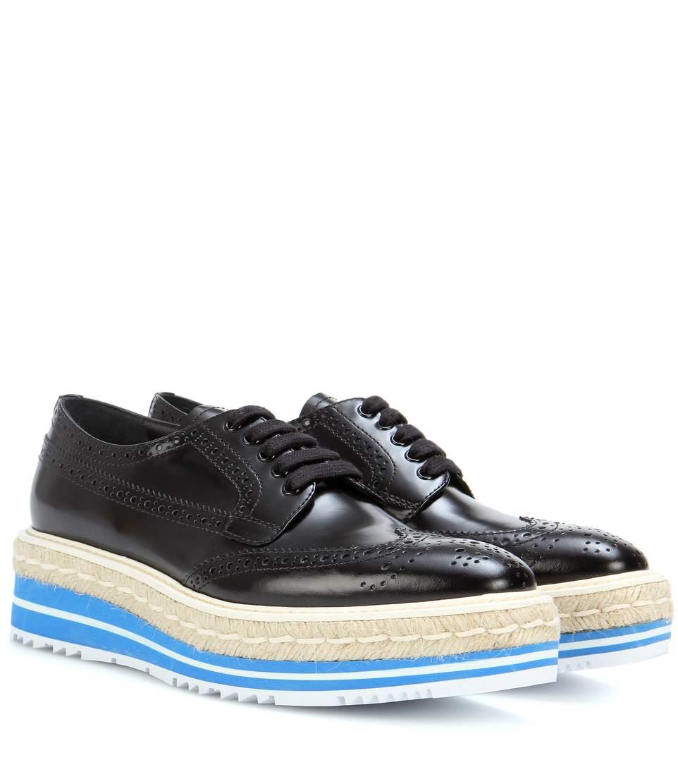 Prada Platform Brogue-trim Leather Oxford, Black