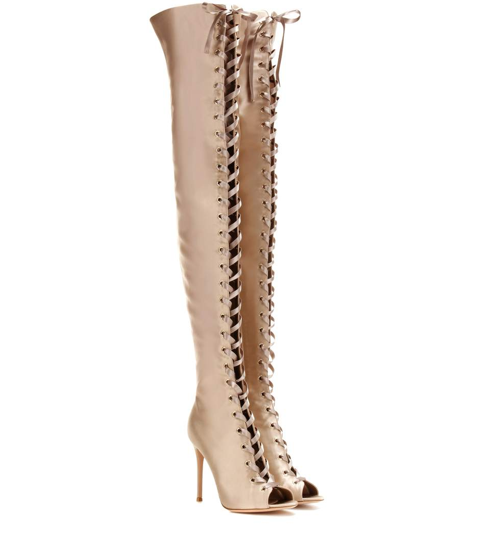 630ce39f822 Gianvito Rossi Marie Satin Lace-Up 105Mm Over-The-Knee Boot