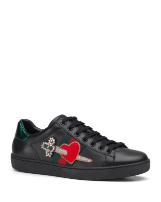 fc94b7299f7 Gucci New Ace Pierced Heart Leather Sneakers In Black