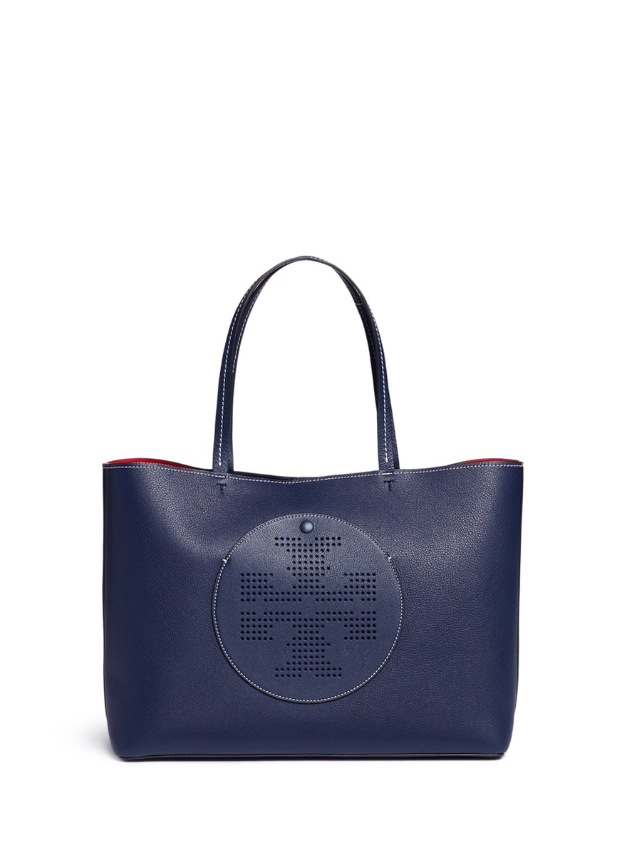 f31230a9c Tory Burch  Perforated Logo  Leather Tote In Royal Navy