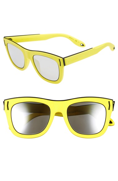 Givenchy Rave Collection Square Mirrored Sunglasses, 52mm In Yellow Fluorescent