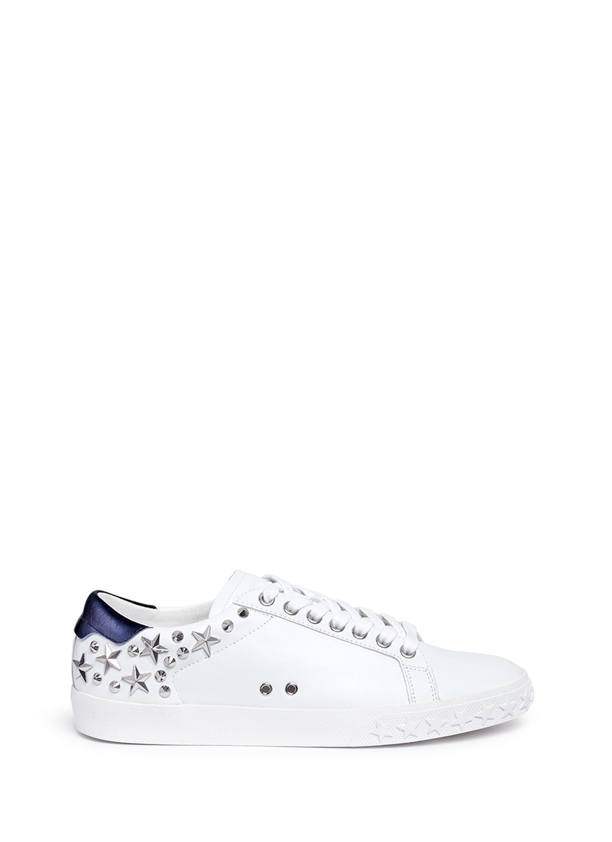 34ef53d5a12 Ash  Dazed  Star Stud Calfskin Leather Sneakers In White Midnight ...