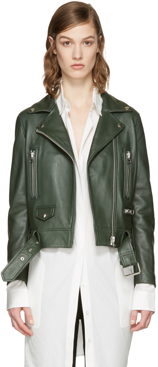 Acne Studios Green Leather Mock Jacket In Forest Green