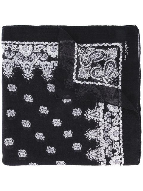 Saint Laurent Paisley-print Cashmere & Silk Scarf In Black White