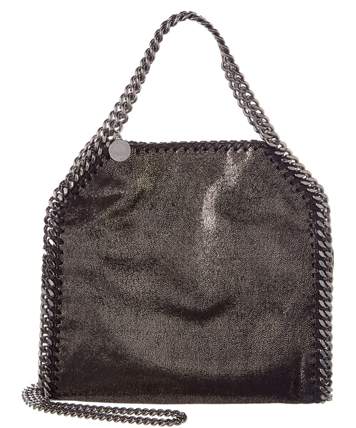 e611b6fd006a Stella Mccartney Falabella Shiny Dotted Chamois Mini Tote in Black