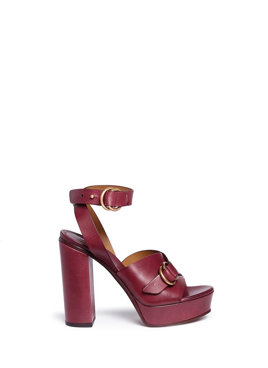 f8dd10b9a62 ChloÉ Kingsley Leather Platform Sandals - Bordeaux