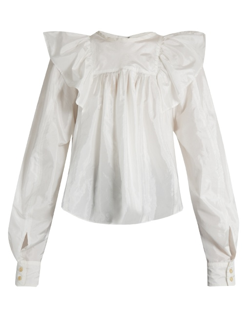 f4a13aa908 Isabel Marant Arlington Ruffled-Shoulder Blouse In White | ModeSens
