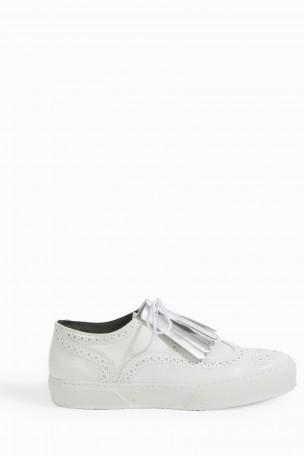 Robert Clergerie Tolka   Leather Brogue Sneakers In White Calf