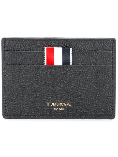 Thom Browne Credit Card Holder In Black Pebble Grain In 001 Black