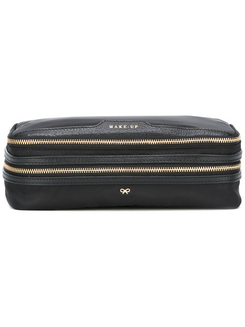 Anya Hindmarch Make Up Leather-Trimmed Shell Cosmetics Case In Black ... 3056c5c5c2b2a