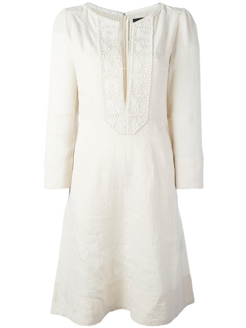 Isabel Marant Embroidered Linen 3/4-sleeve Dress, White