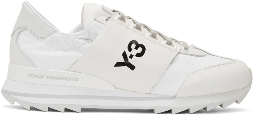 Y-3 Rhita Sport Leather And Fabric Sneakers In White