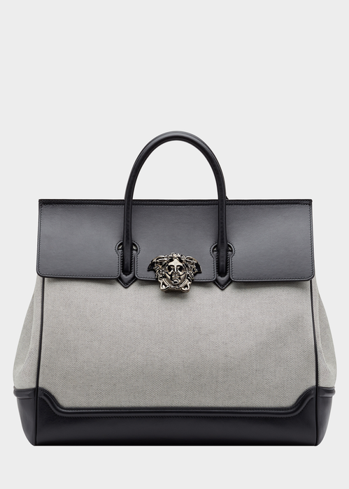 9f6defc4546e Versace Palazzo Leather And Canvas Bag In Gray