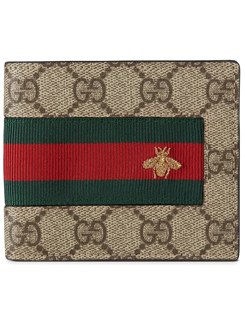 566bfd298826 Gucci Web Gg Supreme Bi-Fold Wallet With Bee, Beige In 8461   ModeSens