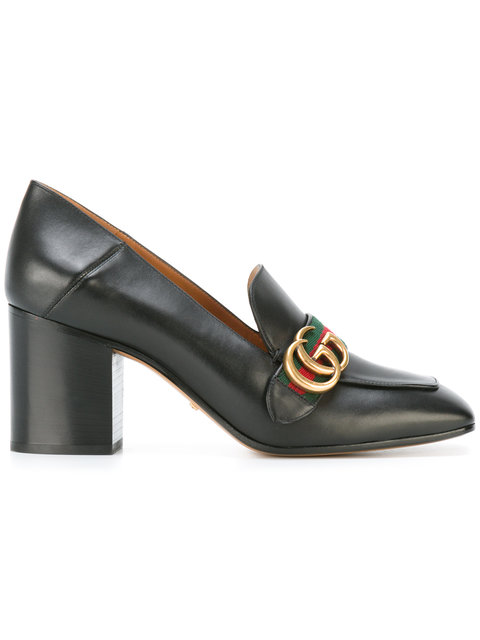 Gucci Leather Mid-heel Loafers In Green