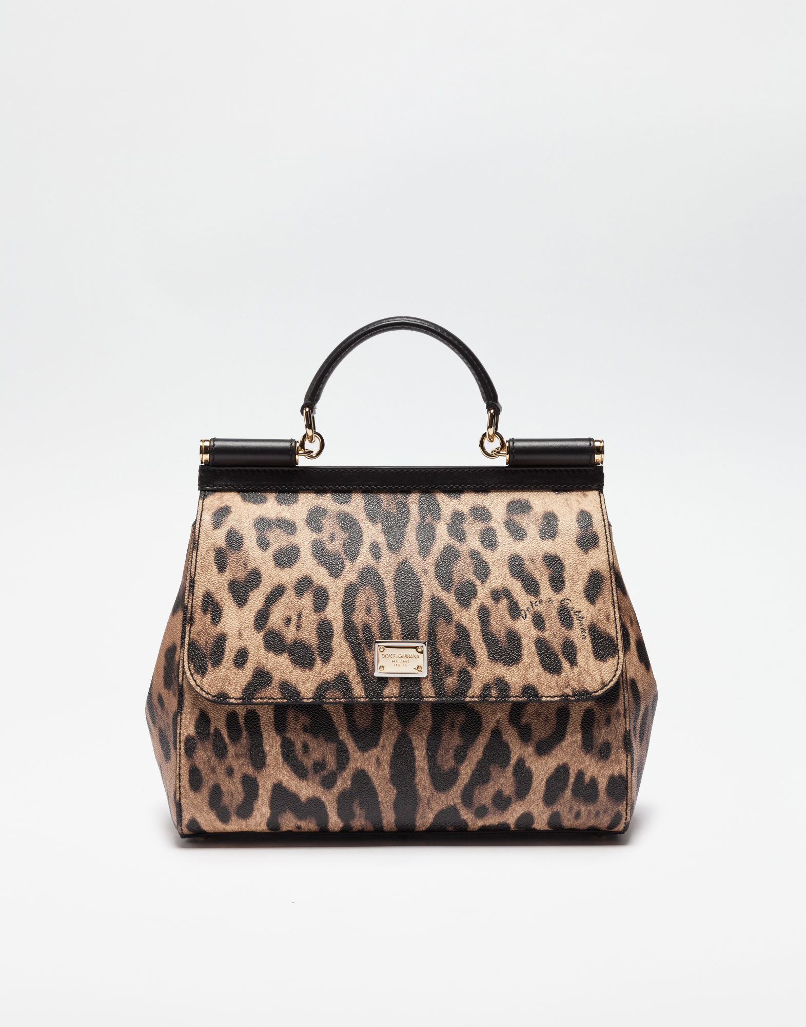 b38683357d Dolce & Gabbana Woman Sicily Leopard-Print Textured-Leather Shoulder ...