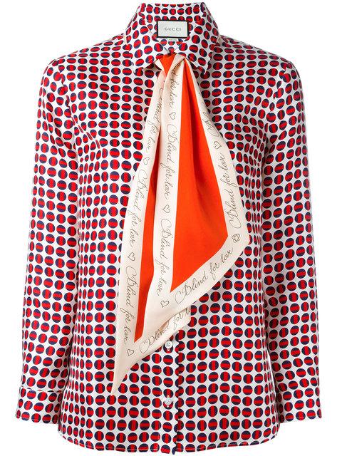 71b18c1fda3 Gucci Pussy-Bow Printed Silk-Twill Shirt In Red