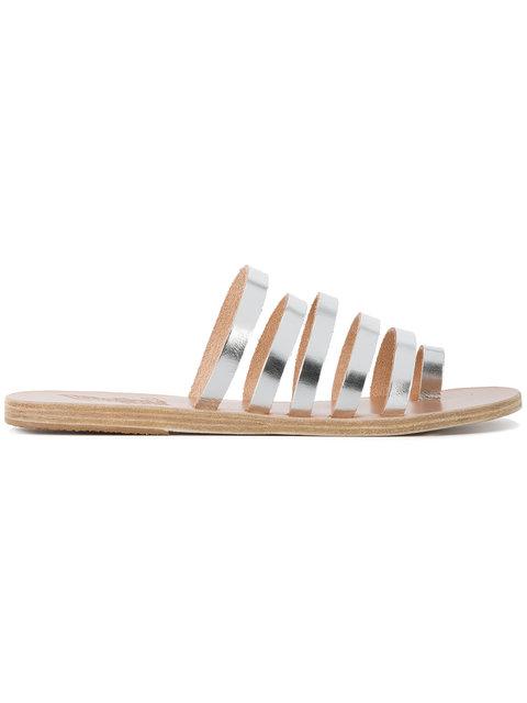 Ancient Greek Sandals Niki Multi Strap Flat Sandals In Silver