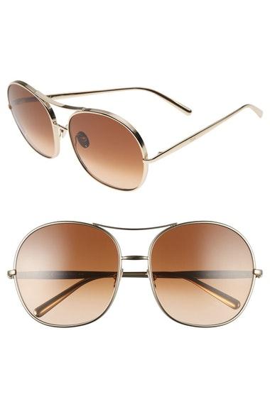 ChloÉ Nola Navigator Round Aviator Sunglasses In Gold/ Brown