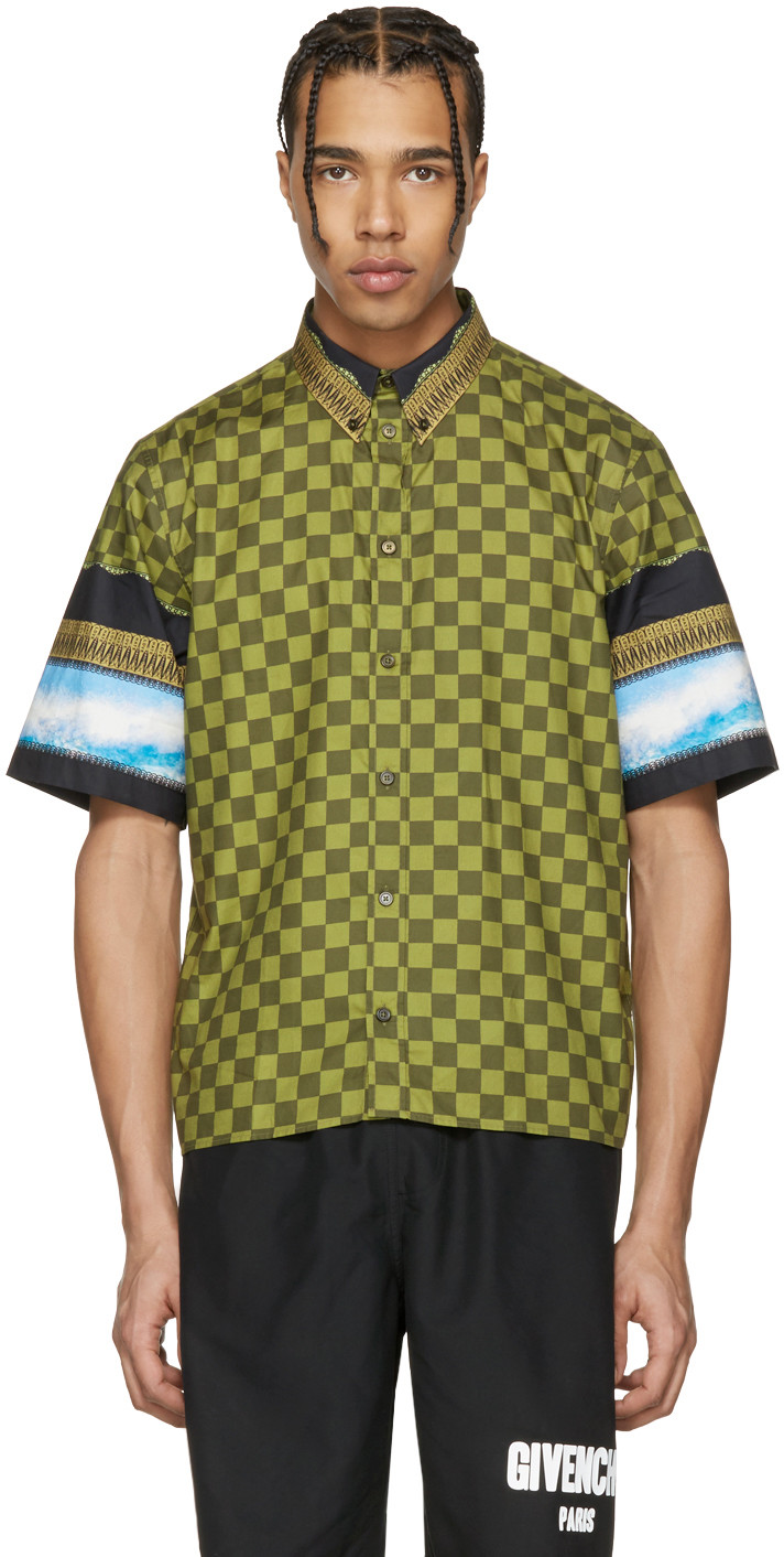 Givenchy Checkered Sky Short-sleeve Cotton Button-down Shirt In Green
