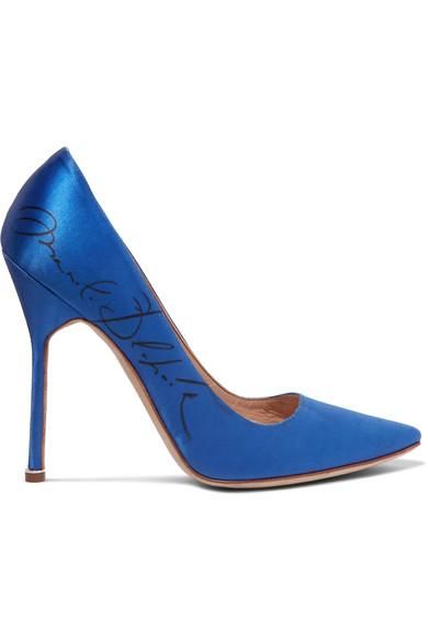 7fcc5cce42 Vetements + Manolo Blahnik Printed Satin Pumps In Bright Blue   ModeSens