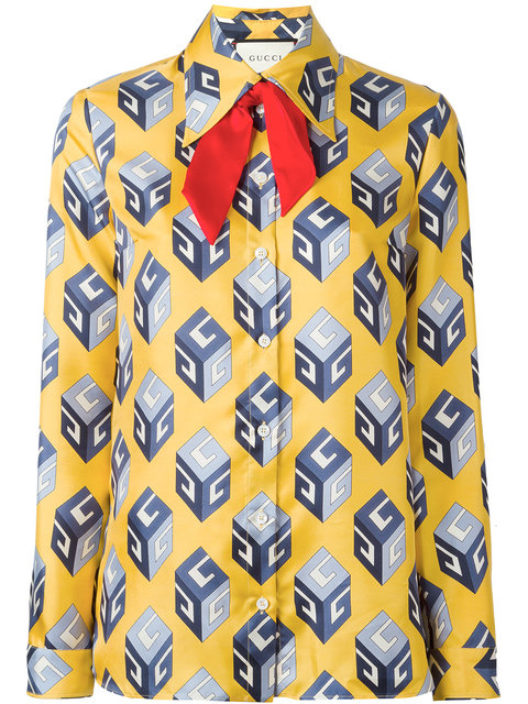 7aadc4a341f2 Gucci Gg Wallpaper-Print Tie-Neck Silk Blouse In Yellow