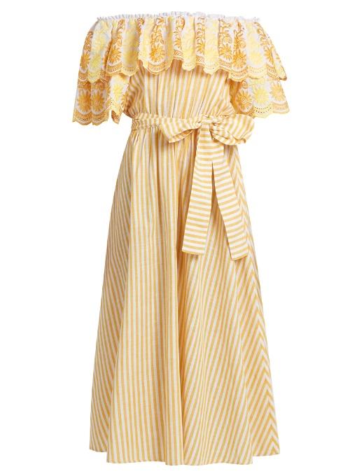 b55a3a50f911 GÜL HÜRgel Off-The-Shoulder Ruffled Cotton And Linen-Blend Dress In Yellow