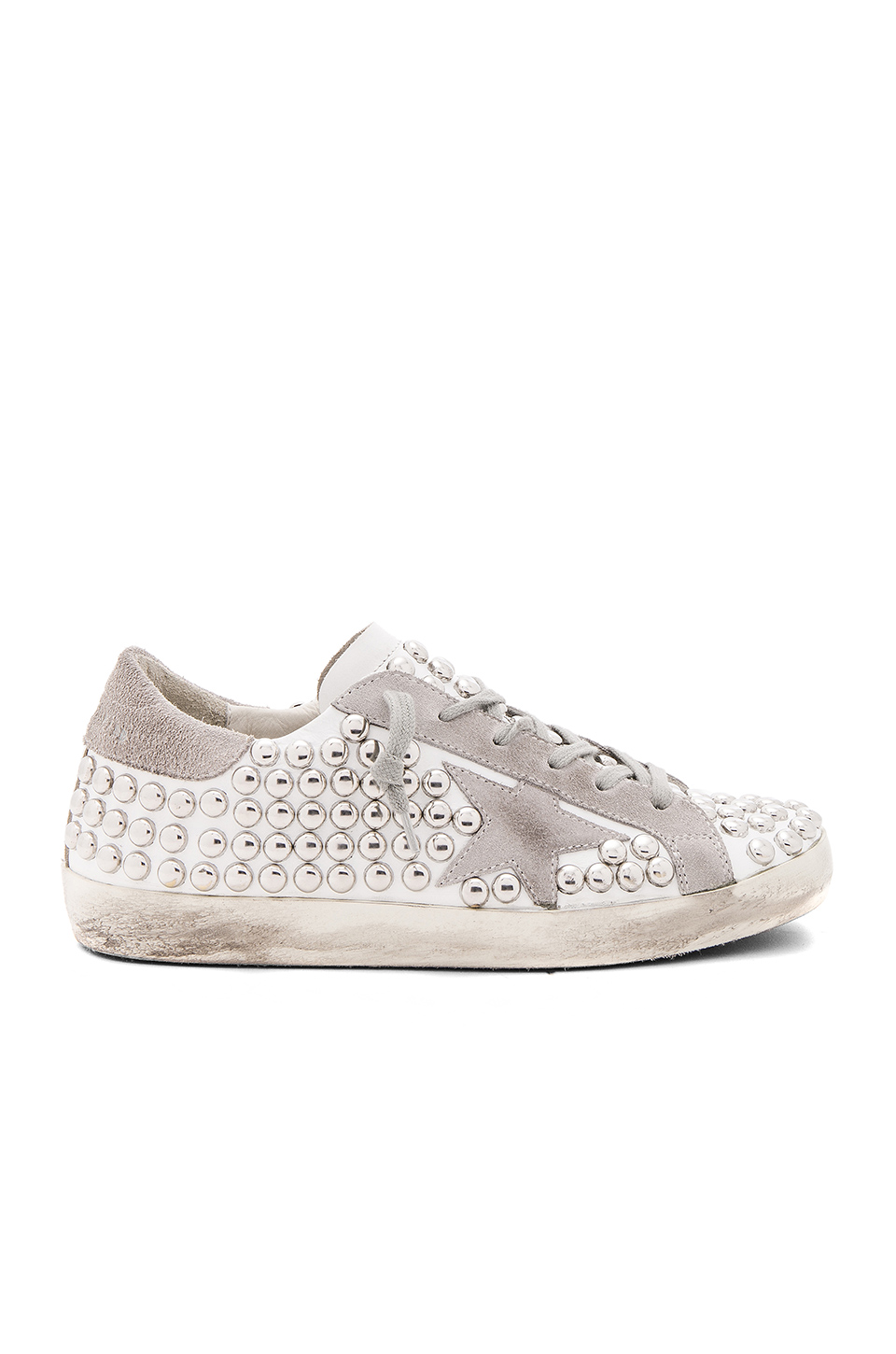 Golden Goose Superstar Distressed Studded Suede And Leather