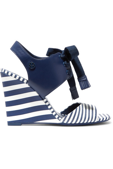 a901ff76cd253 Tory Burch Maritime Lace-Up Striped Leather Wedge Sandals In Blue White