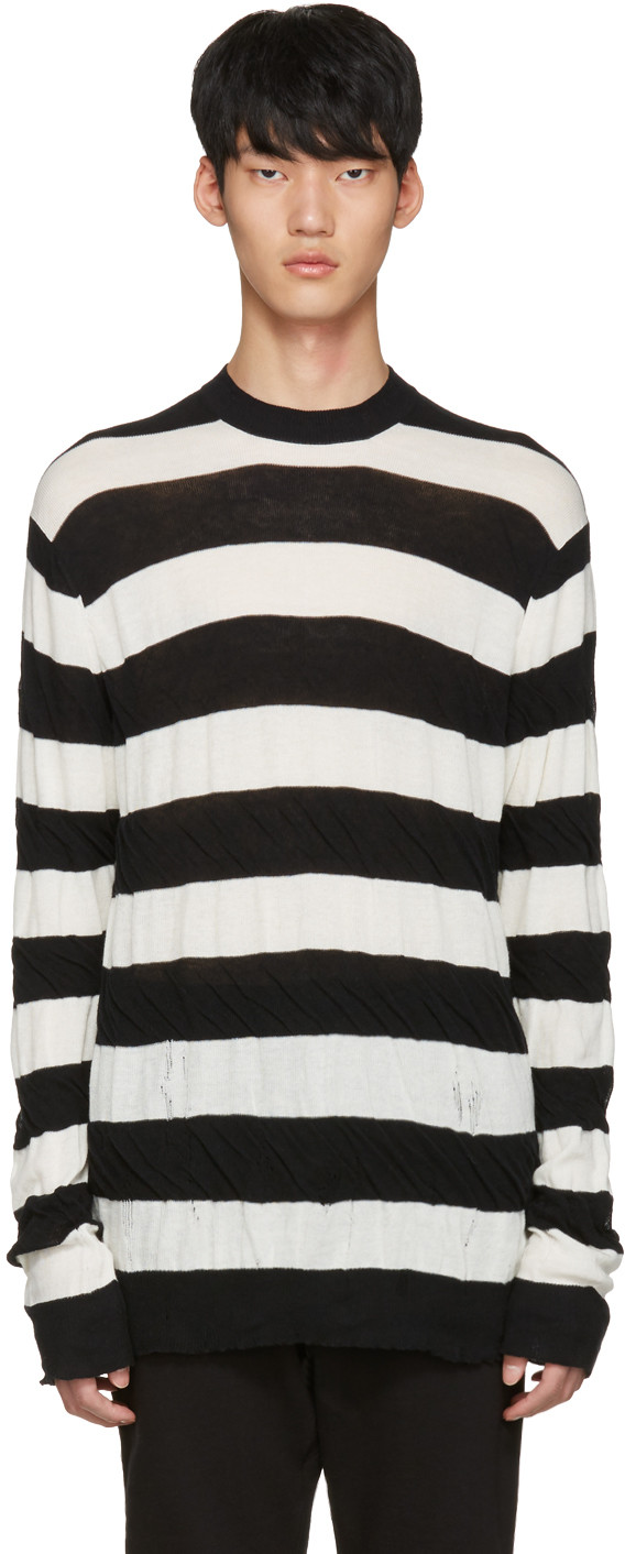 Junya Watanabe Comme Des GarÇons Striped Fitted Sweater In Blue