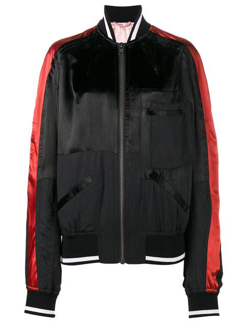 Haider Ackermann Twill-paneled Striped Satin Bomber Jacket In Black/orange