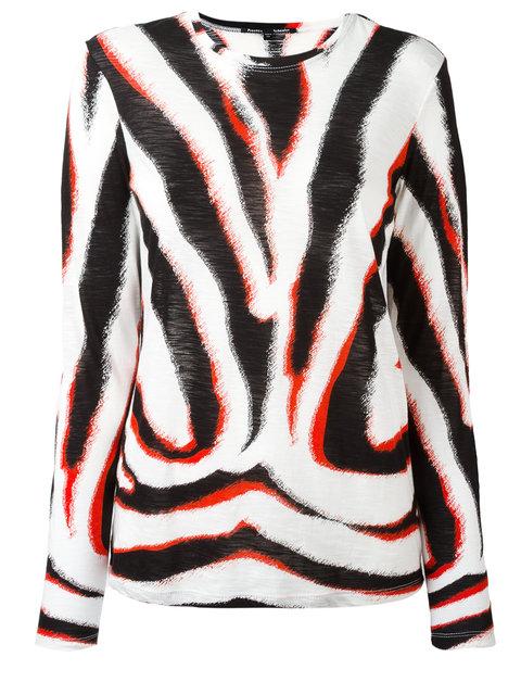 2082735159 Proenza Schouler Zebra Print Tissue Jersey Long Sleeve T-Shirt In White-Black  Red