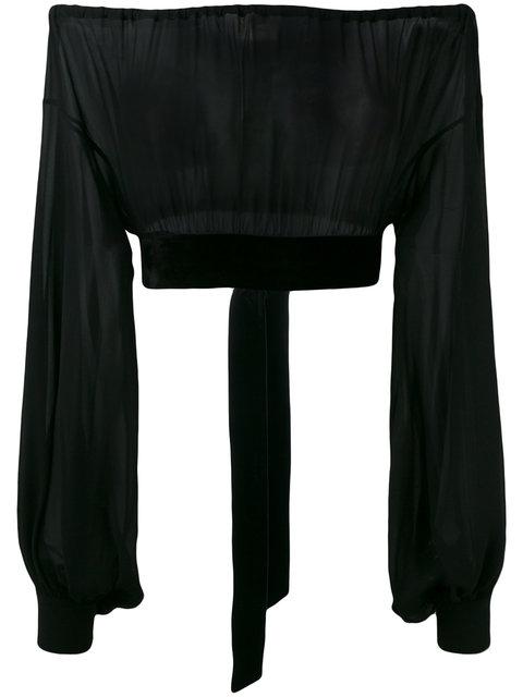 4d69aad9d9c5d6 Saint Laurent Sheer Silk Peasant Crop Top With Velvet Trim In Black ...