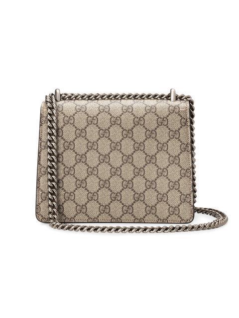 Gucci Mini Dionysus Gg Supreme Shoulder Bag Ebony Taupe In 8642 Beige Tau