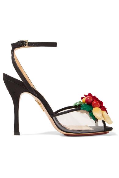 Charlotte Olympia Tropicana Embellished Satin & Pvc Peep-toe Sandals In Black