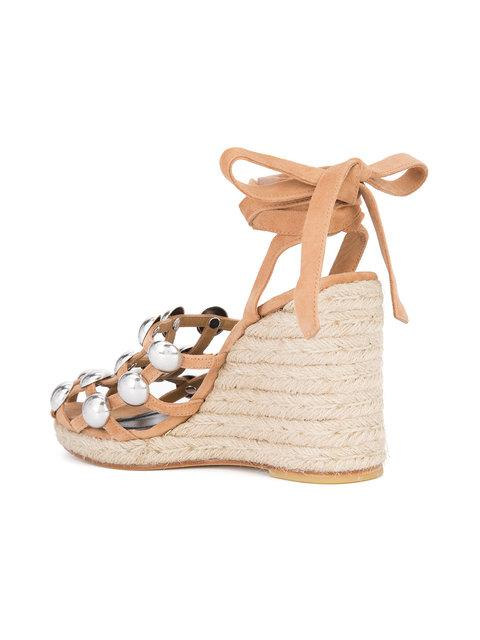 3f35996c0ee8 Alexander Wang Woman Taylor Studded Suede Espadrille Wedge Sandals Sand In  Clay