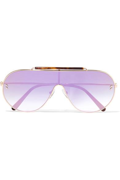 f1e9653f611b Stella Mccartney Oversized Aviator-Style Gold-Tone And Tortoiseshell Acetate  Mirrored Sunglasses In 004