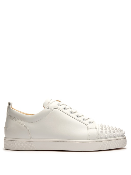 db18e650570 Christian Louboutin Louis Junior Spike-Embellished Low-Top Trainers In  White. CHRISTIAN LOUBOUTIN