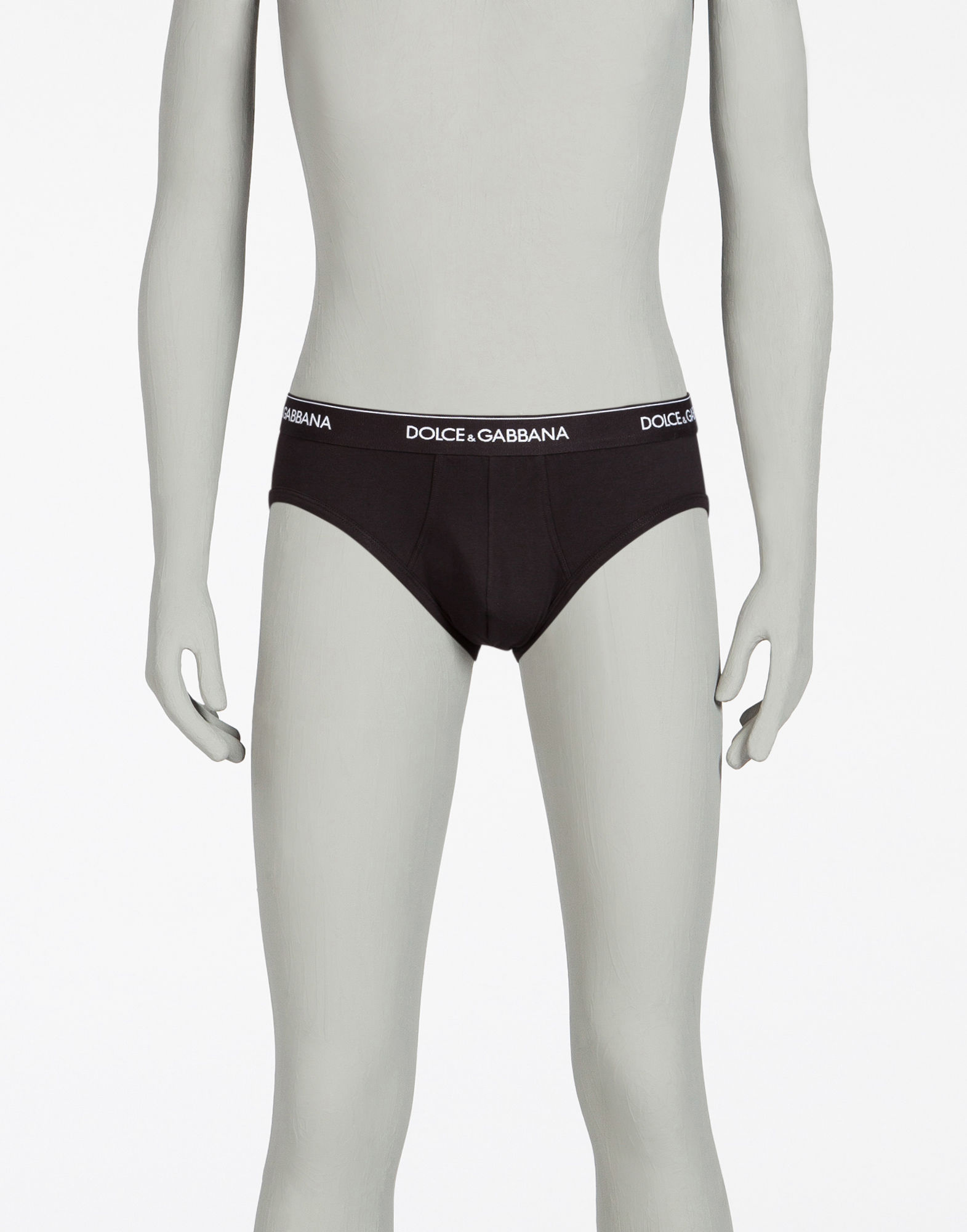 Dolce & Gabbana Pack Of Two Logo-Embroidered Cotton-Blend Briefs In Black