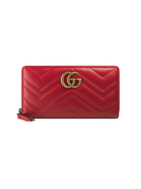 e93d84da9603 Gucci Gg Marmont Quilted-Leather Continental Wallet In 6433 Hibiscus Red