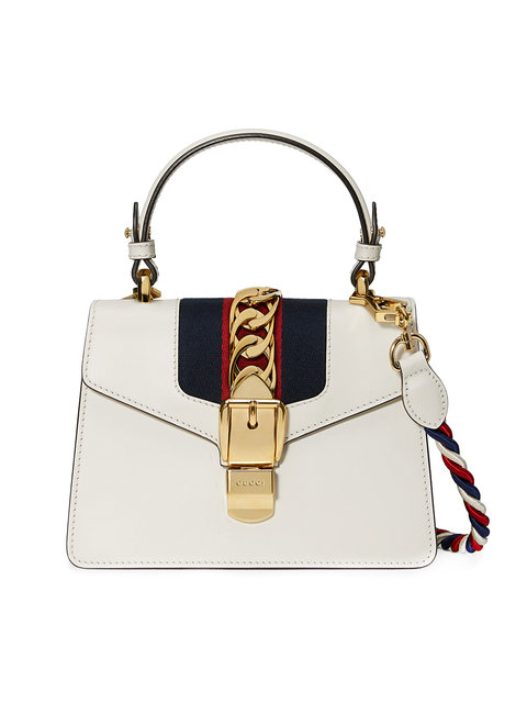 c599a96fa04f Gucci Sylvie Mini Chain-Embellished Leather Shoulder Bag In White ...