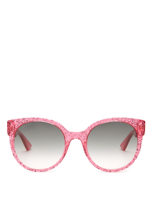 5bf3f36760c470 Gucci Glittered Gradient Round Sunglasses, Fuchsia In Green   ModeSens