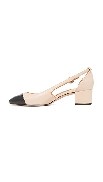 5dd390118c0f Sam Edelman Leah Cap Toe Pumps In Summer Sand Black