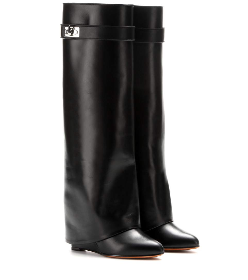 a79f63aeb9ba Givenchy Shark Lock Fold-Over Leather Knee Boot In 001 - Black ...