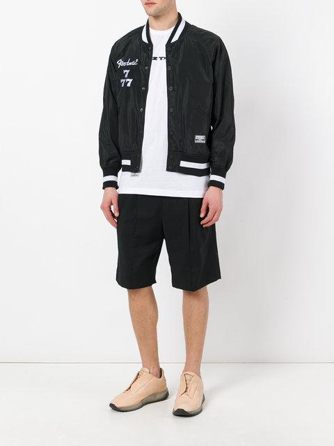 Ktz Embroidered Satin Bomber Jacket In Black